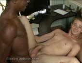 Taking black cock in his ass while another brother wanks his cock for round two.