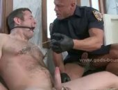 Gay cop catches thief in the rest room undresses him and abuses the hunk in rough violent bondage fucking