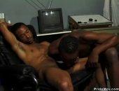 Hard blowjob face banging sex between two black thugs.