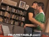 Cute Mickey Drake and ripped Tristan Phoenix passionately kiss as they tear off each others clothing. Mickey forcefully fucks Tristan on the couch doggy-style, showing us the long, penetrating strokes in and out, before Tristan shows his talent by riding the full length of Mickeys poker. In a final all-out fuck, Mickey pushes the cum out of Tristans cock and rubs Tristans cum all over his cock to lube himself up for a few final strokes.  Mickeys cum flies over Tristans ripped stomach, splashing