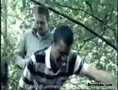 Hot and hard arse fucking between two guys in a dense forest.