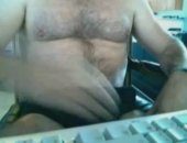Chunky hairy bear jerking his fat hairy cock on his webcam