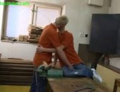 Boys doing practical work in carpentry workshop classroom and two dirty boyz had fun each other when no one is there.