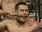 Latin stud gets double penetrated at Folsom Gulch porn store.