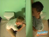 Nevin Scott is having a sneaky jerkoff in a bathroom, when Braden Fox just happens to stumble upon him and hear his jerkoff session. Braden notices a hole in the wall, so naturally lets Nevin suck his dick! Nevin suddenly notices another dick in the other side of the wall, this time, lubed up ready to fuck him!
