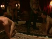 Gay guys with leash get fucked in group sex in extreme rough gay sex getting their mouth and asses busted hard