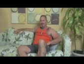 Horny and hairy amateur older bear jerking his meat stick
