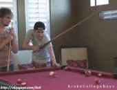 Meet in the big cottage the two best college guys play pool to pose each other.