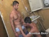 In the back room of this Mexican restaurant things get wild and crazy as two beefy Brazilian studs suck on those rock hard tube snakes while customers eat their lunch in the front of the house.