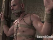 Master Tober Brandt gives slave park wiley a slave endurance test. The dungeon bell looms nearby; when things get tough, the slave may ring the bell to get out of hell. It means he no longer wishes to be part of this vast dungeon. Master Tober puts slave park through tight bondage, heavy flogging and hard punching. He then fucks park like an animal. Will park make it through the day? Or will he ring the dungeon bell?
