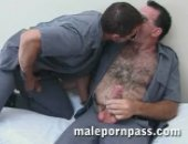 The hairy bear gets his thick big cock sucked by another prisoner.