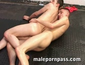 Kyle and Will are on the mat, putting a new meaning to a crotch hold and slam! Soon enough the guys are sucking, and Kyle is screwing Will for all he is worth. Eventually the lads shoot great spouts of cum over each other.