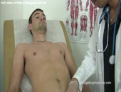 Sweet doctor guy masturbates big dick and pushes fingers into anal on couch.