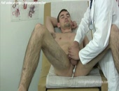 Cute doctor jacking off his patients
