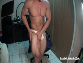 Alain Lamas sexy cocky muscle hunk showing off his delicious ass wearing a white thong. Then strips and playes with his thong rubbing on  his sexy asshole and then jacks off with some asshole play and bust a huge load