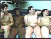 Four hot and horny amateur guys wanking at the same time.