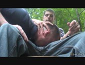 Hot guy is getting blown on a park bench while another voyeur films the action.