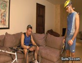 Trevor and Nikko are set for a healthy bike ride, but with a flat tire and no pump, Trevor is going to have a hard time. As they are active guys and need to burn some calories, Trevor gives Nikko a healthy pump by riding his ass instead.
