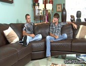 Nikko Alexanders wife is out shopping till late and what better way to celebrate than a boys night with friend Parker Brookes. While the guys discuss the evenings potential events, conversation turns to Parkers crush on Nikko. Being the nice guy that he is Nikko agrees to fulfill Parkers years-long fantasy.