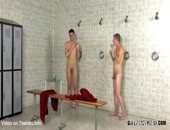 Horny amateur twinks shower together