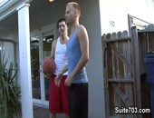 Cameron and Kyle are giving each other some shit about how they did on the court. Who does a better lay-up and who owns the basket? After the ribbing is over, they decide to take a dunk in the pool to cool off, but neither has any trunks.