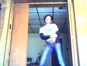 Amateur queer dancing on webcam