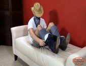 Masked cowboy strokes his southern meat