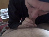 Older man sucking uncut cock.