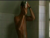 In the shower.
