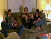 Erik gets handcuffed and double teamed by Tristan and Aron in this hot threesome.