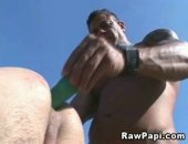 Horny latino in a very hot bareback sex action. See this wild latino feeding his gay lover tight hole with his angry cock and watch them release sperm in the end.