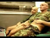 Horny guys sucking each other off on a public subway car!