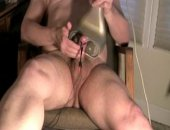 About 2 and a half minute clip plus 1 minute slo-mo cum of 16 minutes using my percussion massager and estim.  Great combo with the estim on my penis and the massager. felt great