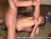 Hot gay dude sucking shemale beautiful cock. Hardcore gay and shemale bareback fucking with messy cumshots in the end