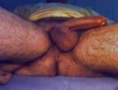 Pawing away at my little cock. My legs look really hairy in this video, so this is for you bear lovers!