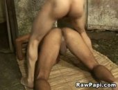 Sexy latin gay getting a wild and awesome bareback from his hot lover. Hardcore condomless gay anal pounding action with nasty cumshots in the end.