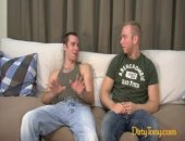 Two cute and youthful gay boys meet on my couch today chatting about when they came out, relationships, and of course drinking. Hot newcomer Trevor...