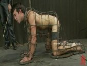 Naked gays doing pushups then get tied with rope and clipped with bondage clips in brutal bdsm sex giving blowjobs and opening up wide their tight ass