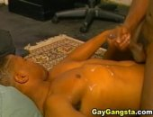 Gay guy sucks monster black cock deep down his throat