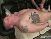 """This is Eli's third shoot, and this time he agreed to get massaged and jerked off by a guy for the first time. Not that Eli is a stranger to the release of a happy ending. When the 6 foot Marine was stationed in Japan, he got his monster cock jerked off by Japanese women, an experience he described as a """"nice way to experience the culture."""" I'd say.  I started Eli off slow, getting him comfortable by massaging his shoulders, his back, his legs, and his feet (size 11. Maybe it's true wh"""