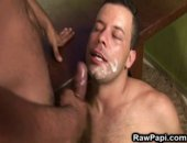 Sexy latino muscled hunk being caressed by his gay lover. See them in deep throat hard cock sucking and nasty tight gay hole fucking with nasty cumshots in the end.