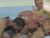 Str8 blond surfer fools around with two str8 guys for cash.