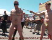 This poor cock whore is tied up and paraded through the Folsom Street Fair. He is painfully punished and humiliated in front of a crowd of horny onlookers then made to suck the dirty cocks of strangers.