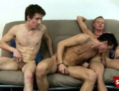 Extended clip of three hot straight boys having gay sex for cash.