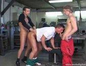 Horny Guys Having a nice Hardcore Threesome Fuck.