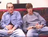 Straight boy Wes sits on a couch watching a porno flick with gay boy Matthew when the two horny guys decide to trade blowjobs.