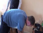 Andy Lee faces Dr Barton for a serious dose of the cane! See this beefy straight hunk bending over and getting his beefy bare bottom spanked hard!