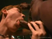 ginger twink lavishing a big black cock with throat love