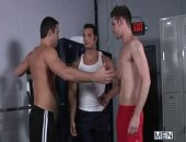 Marcus Ruhl is instantly hard at the sight of his ex boyfriend Jack King.  So much that he fails to notice Jacks new boyfriend, Duncan Black. Duncan doesnt mind the snub and in fact gets to work on Marcus and in turn instigates one of the hottest 3ways in MEN.COM history!