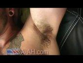 beefy inked soldier masturbates in the studio